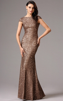 Sheath Floor-Length Bateau Short Sleeve Sequins Backless Dress