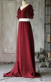 V Neck V Back Bat Wing Sleeve Empire A-line Chiffon Long Dress With Sash