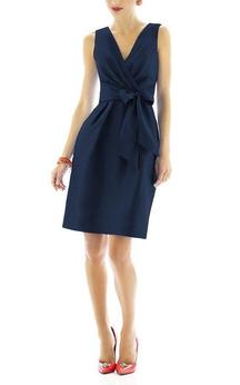 V-neck Satin Short Dress with Bow