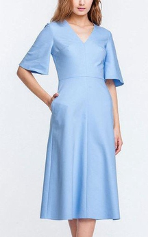 V Neck Bell Sleeve A-line Satin Knee Length Dress Blue