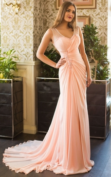 A-Line Court Train V-Neck Sleeveless Chiffon Beading Pleats Keyhole Dress