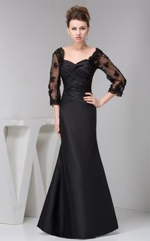 Ruched Long Mermaid Dress With Illusion 3-4 Sleeve