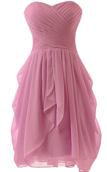 Sweetheart A-line Ruffled Short Chiffon Dress