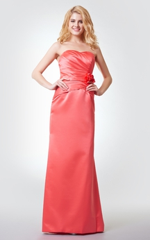 Sweetheart Ruched A-line Long Satin Dress With Flower