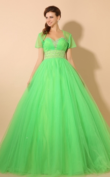 Empire Sweetheart A-Line Ball Gown With Tulle Overlay and Beading