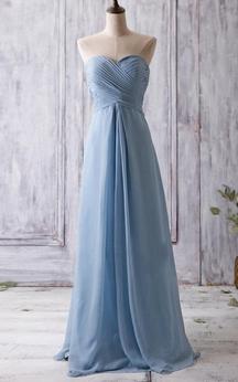 Sweetheart Pleated A-line Chiffon Long Dress Criss Cross Top