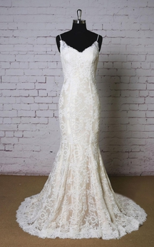 Mermaid Lace Sleeveless V-Neck Dress With Spaghetti Straps