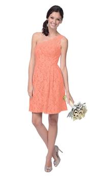 Lace Short A-Line Magnificent One-Shoulder Dress
