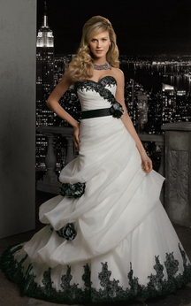 A-Line Long Sweetheart Sleeveless Lace-Up Organza Dress With Lace And Pick Up