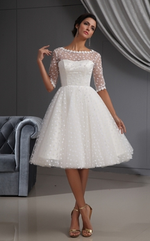 Half-Sleeve Illusion Knee-Length Short Dress With Lace and Dot