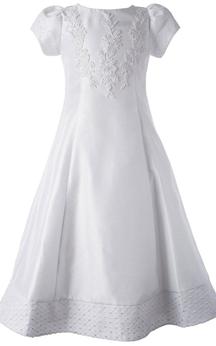 Short-sleeved Bateau-neck A-line Dress With Appliques