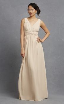 V-Neck Sleeveless Long-Chiffon Chic Dress With Ruching