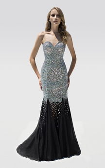 Mermaid Floor-Length Sweetheart Sleeveless Beading Backless Dress