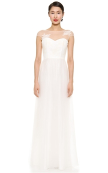 Long Bateau A-line Organza Dress With Illusion Back Style