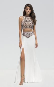 Sheath Floor-Length Jewel-Neck Sleeveless Jersey Crystal Detailing Split Front Dress