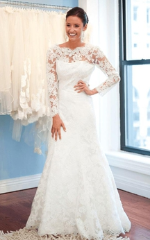 Elegant Lace Long Sleeve Wedding Dress 2016 White Sweep Train