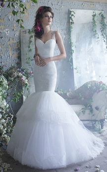 Sassy Lace Bodice Tiered Tulle Dress With Keyhole Back