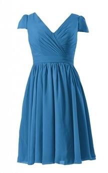 Short Sleeve V-neck Short Pleated Chiffon Dress