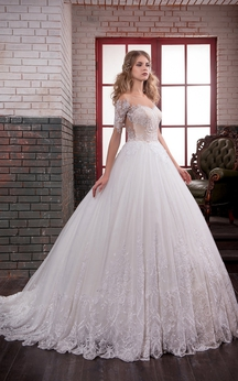 Ball Gown Long Off-The-Shoulder Short-Sleeve Illusion Lace Dress With Appliques And Pleats