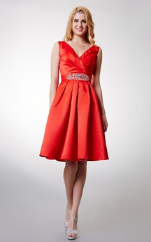 Impressive Sleeveless V-neck Short Satin Dress With Beaded Sash