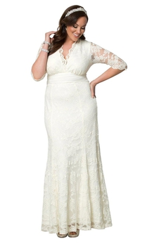 Size V-Neck Lace Long Plus Dress