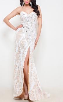 Mermaid Floor-Length Sweetheart Sleeveless Lace Beading Split Front Backless Dress