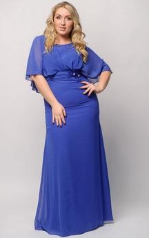 Sheath Floor-Length Jewel Short Sleeve Empire Chiffon Ruffles Zipper Dress