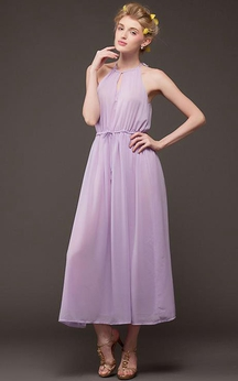 Ankle-Length Halter Sleeveless Chiffon Keyhole Dress