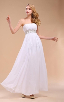 Strapless Chiffon Gown With Empire Waist and Appliques