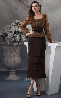 Classic Long-Sleeve Ankle-Length Square-Neck Appliques and Dress With Tiers