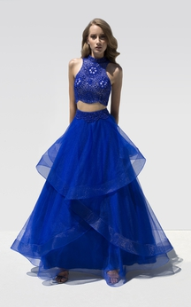 A-Line Floor-Length High Neck Sleeveless Organza Draping Crystal Detailing Dress