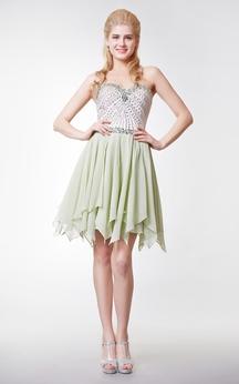 Lovely Beaded Bodice Short Dress with Jewel Embellishment