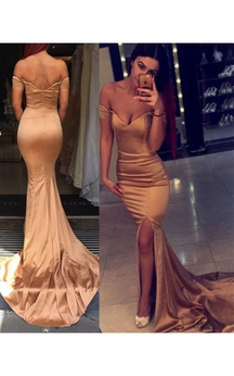 Sexy Off the Shoulder Mermaid Evening Dress 2016 Zipper Back Prom Gown