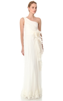 Long One-shoulder Sheath Chiffon Dress With 3D Flower