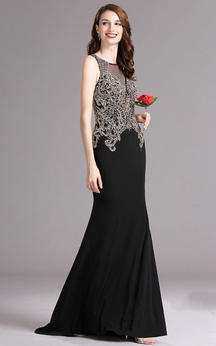 Sheath Floor-Length Jewel Sleeveless Jersey Beading Keyhole Dress