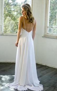 Chiffon A-Line Bohemian Style Long Dress With Spaghetti Straps