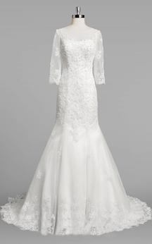 Bateau Neck 3-4 Sleeve Mermaid Lace Wedding Dress With Beading