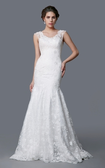 Tulle and Lace Sweetheart Gown With Keyhole Back and Beaded Waist