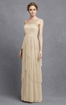 Tulle Sleeveless Long Dress With Keyhole And Tiers