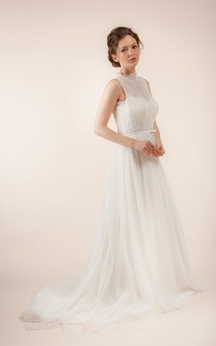 Sleeveless Lace and Tulle Dress With Pleats and Illusion Back