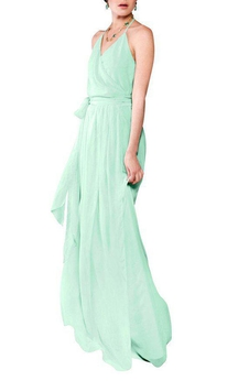 Halter Wrap Chiffon Bridesmaid Dress with Sash