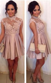 Delicate High Neck Lace Appliques Cocktail Dress 2016 Short A-line