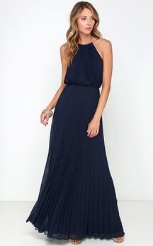 Chiffon Long Charming Sleeveless Dress With Pleats