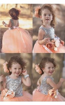 Lovely Tulle Sequined Flower Girl Pageant Dress 2016 Jewel Sleeveless