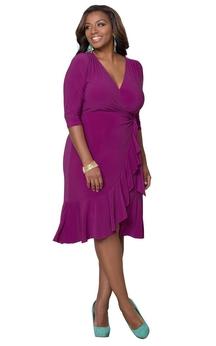 3-4 Sleeved Tea-length V-neck Ruffled Jersey Dress