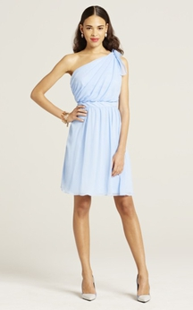 Lovely Short Chiffon Dress With Ruching Detail
