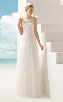 Sleeveless Tulle Dress With Illusion Low-V Back And Neck
