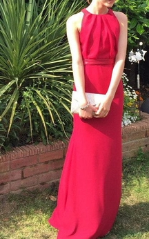 High Neck Sheath Chiffon Floor Length Dress With Ribbon