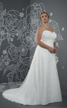A-Line Floor-Length Sweetheart Sleeveless Satin Court Train Lace-Up Back Beading Dress