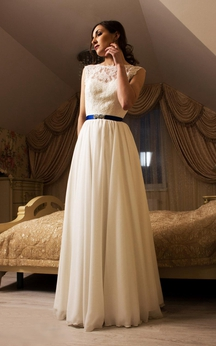 Chiffon Sleeveless A-Line Dress With Lace Bodice and Deep-V Back